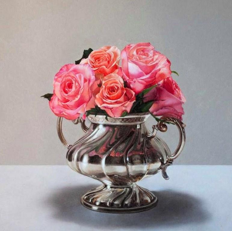 Cuadros modernos pinturas y dibujos cuadros de rosas - Fotos jarrones con flores ...