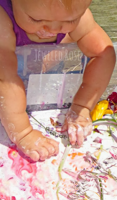 Multi-sensory GOOP- a simple play recipe that captivates every sense.  So many fun textures, colors, and scented to explore!