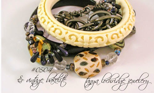 Kazuri Bead Green, Gold & Gunmetal Bracelet