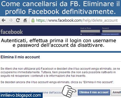 cancellarsi da fb
