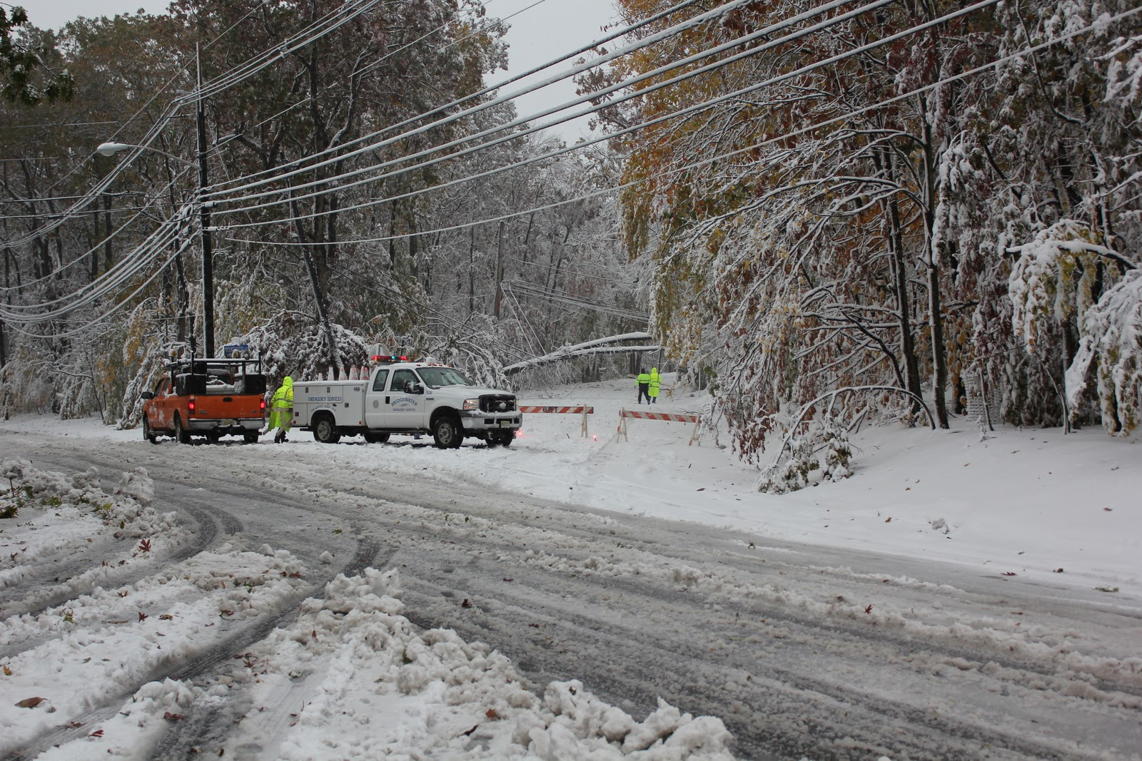 Road are blocked during a freak NJ fall snowstorm.
