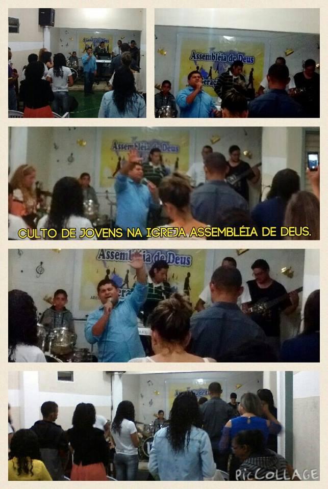 Culto de Jovens na Assembleia de Deus.