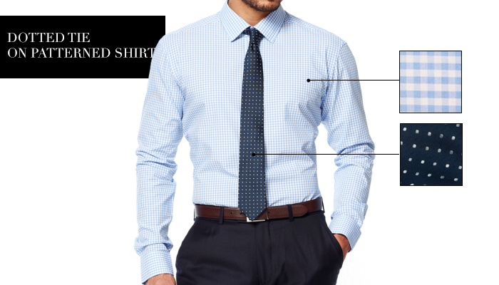 Dotted Tie on patterned shirt
