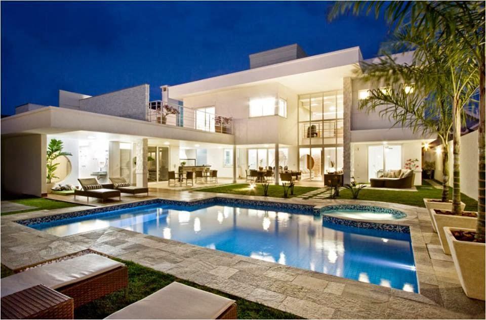Construindo minha casa clean top 10 piscinas maravilhosas for Plantas de casas modernas con piscina