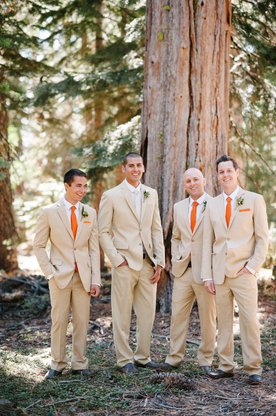 Fall groomsmen with orange accents // Acres of Hope Photography // Take the Cake Event Planning