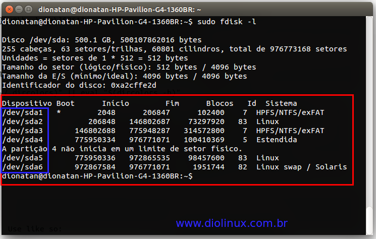 Listagem de partições no Ubuntu