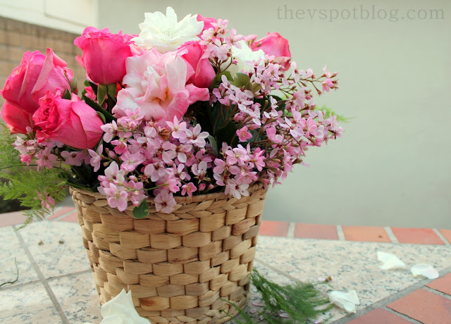 basket, weave, flowers, floral, arrangement, centerpiece