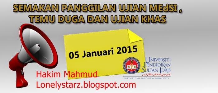 Cara Semak Panggilan Temuduga MEDSI UPSI Sesi Februari 2015