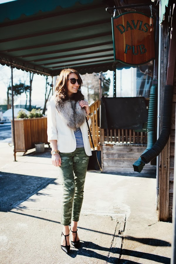 camo pants and white blazer