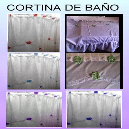 CORTINA DE BAÑO DE TELA TEFLON BORDADAS CON FLORES (COLORES DE AMBAS A ELECCION) EL M2 $ 70