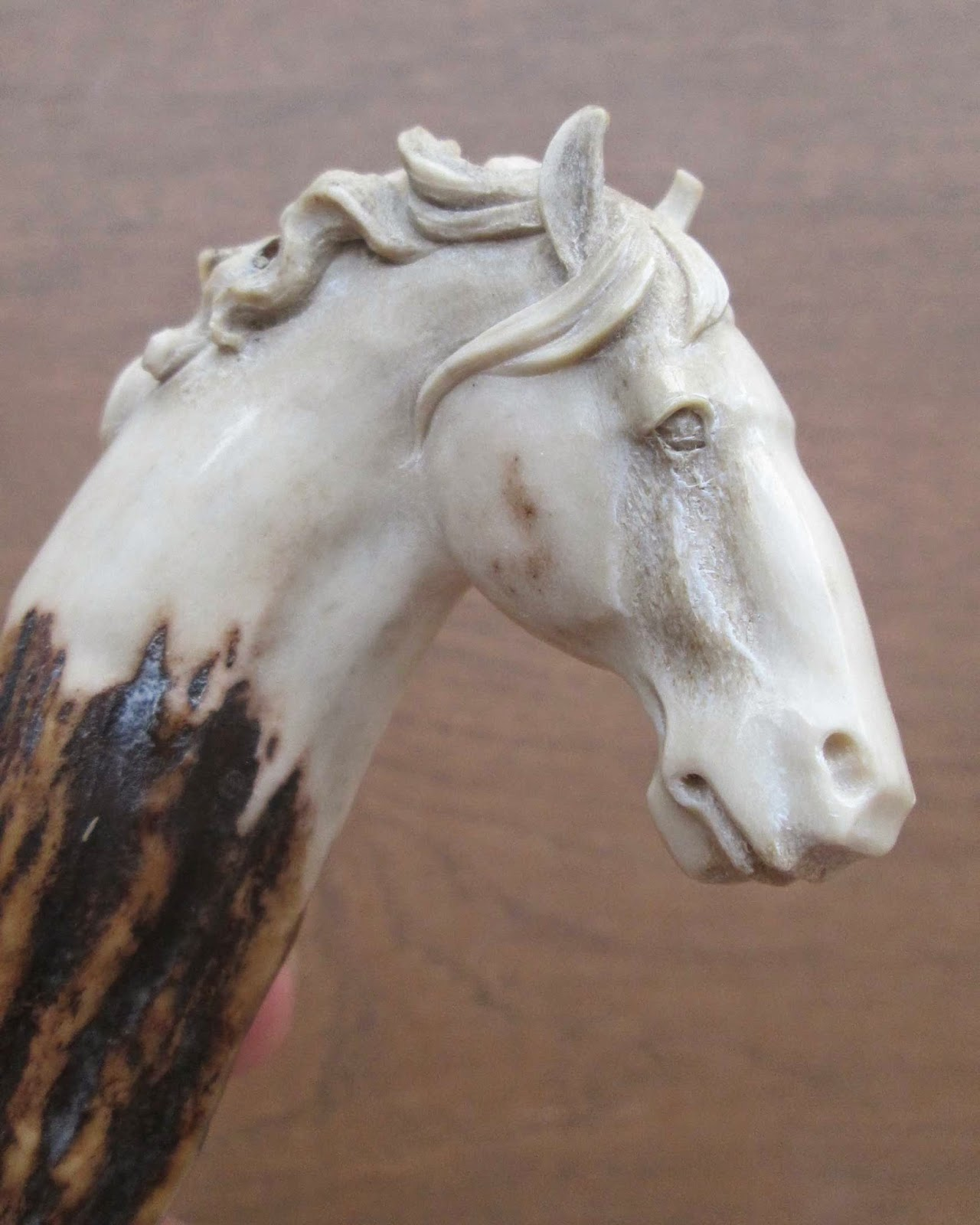 Hand Carved Horse Head Handle in Antler