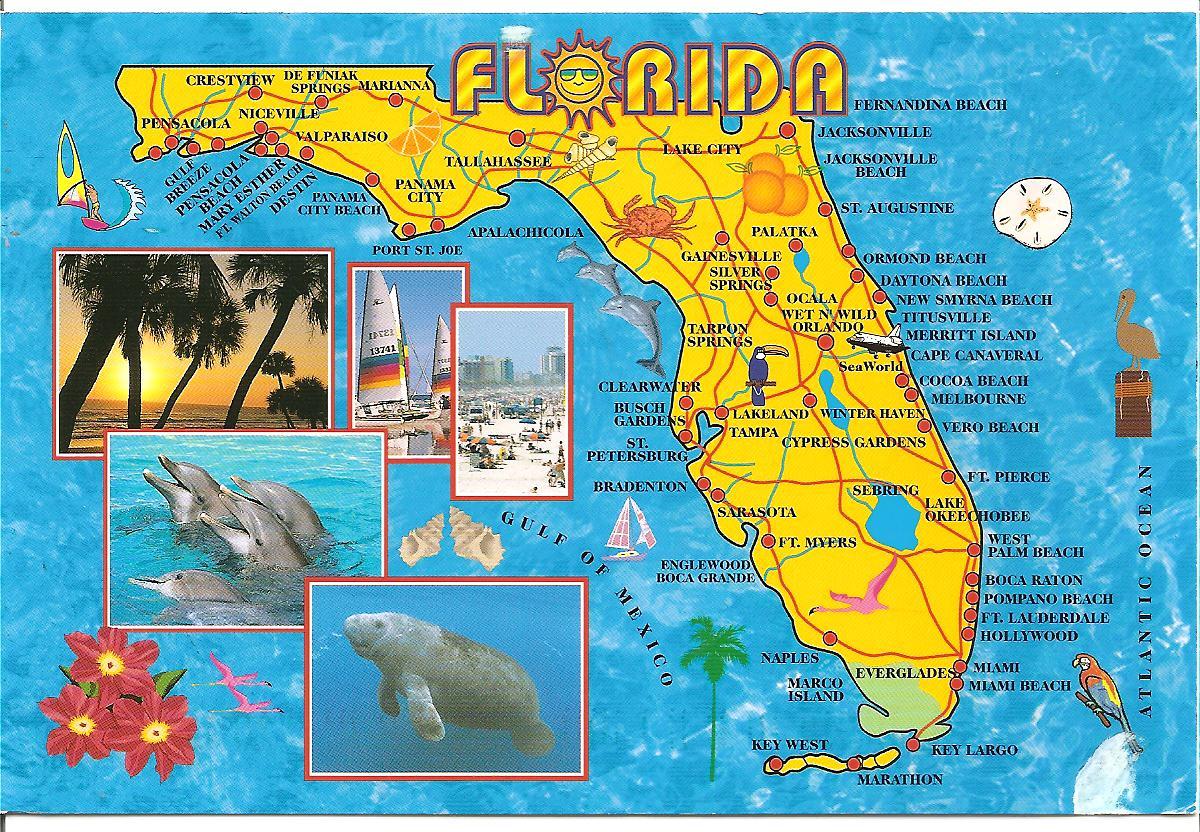 Map Maps USA Florida Canada Mexico Caribbean Cuba South America - Florida map