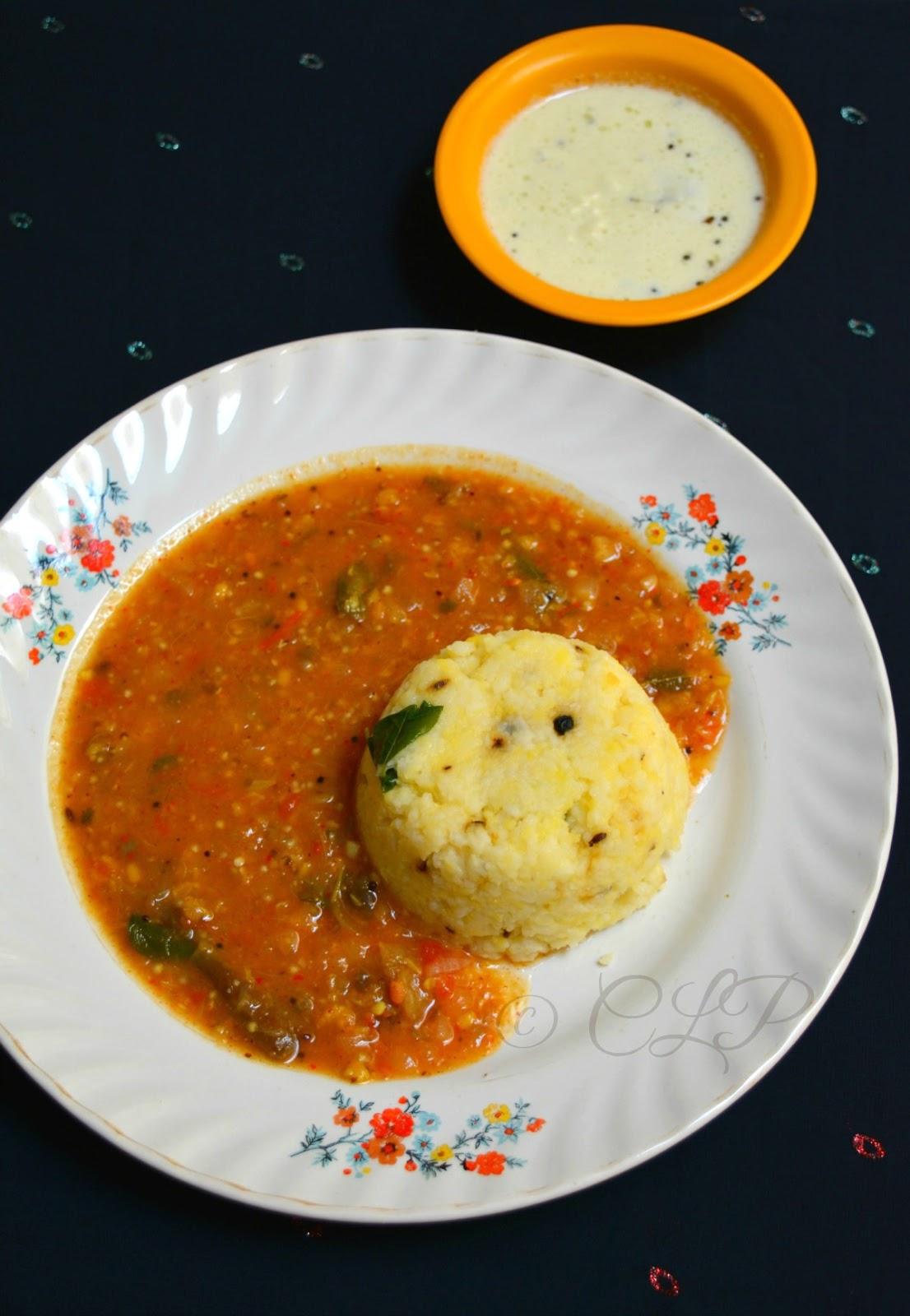 Ven Pongal side dish Brinjal Gothsu