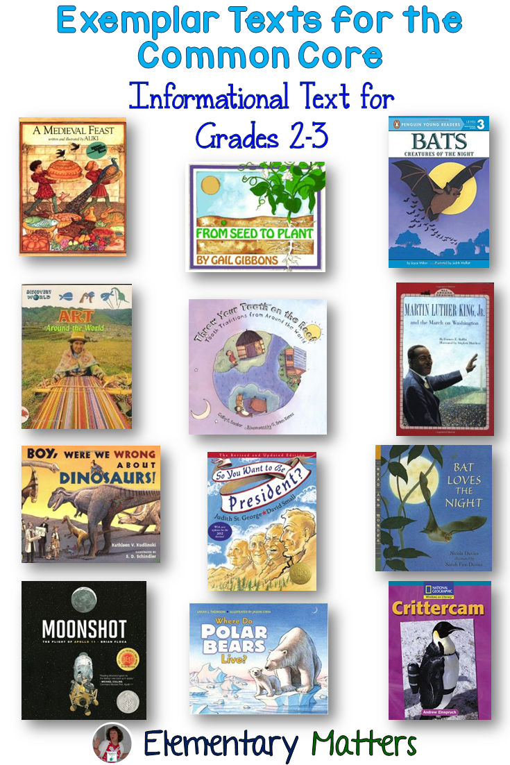 elementary matters exemplar texts for the common core exemplar texts for the common core informational text