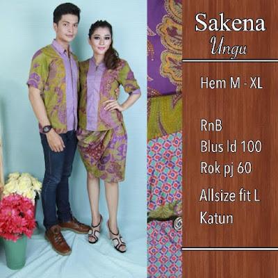 Baju Batik Pasangan Sakena Biru SP8093