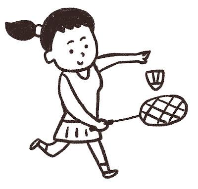 バドミントンの選手のイラスト(スポーツ) モノクロ線画