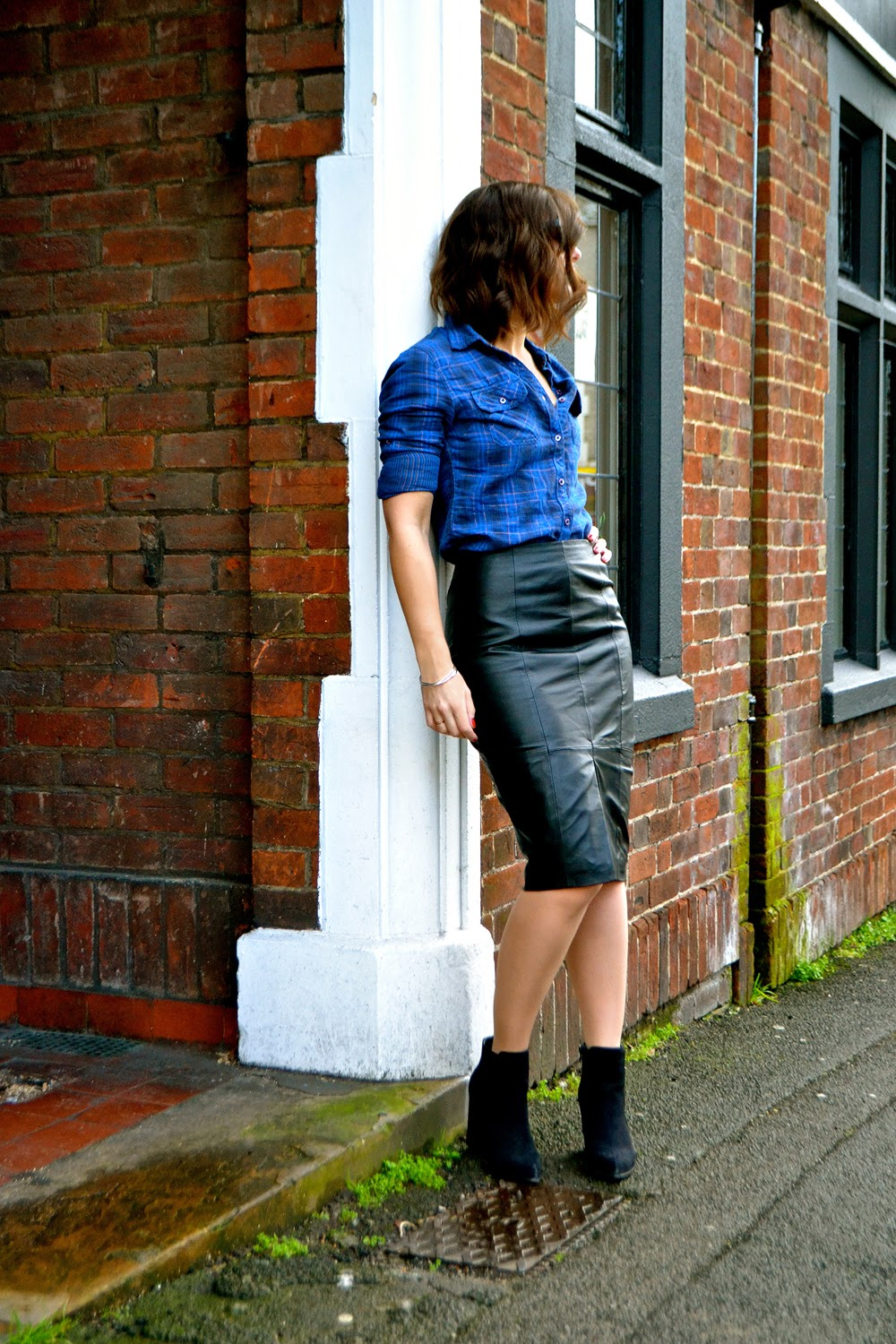 dujouriadore; leather pencil skirt; checked shirt