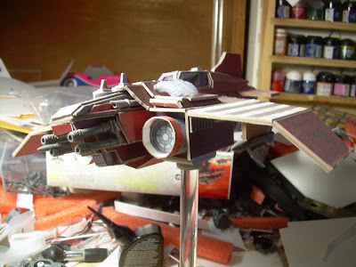 My paperhammer built thunderbolt colored in the crimson colors of the Red Dragon
