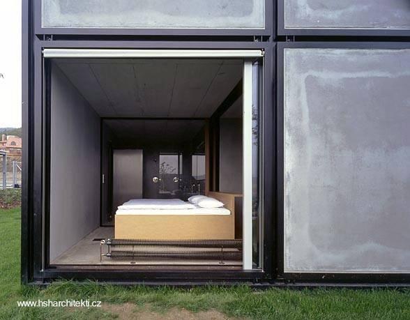 Detalle arquitectónico de la casa prefabricada