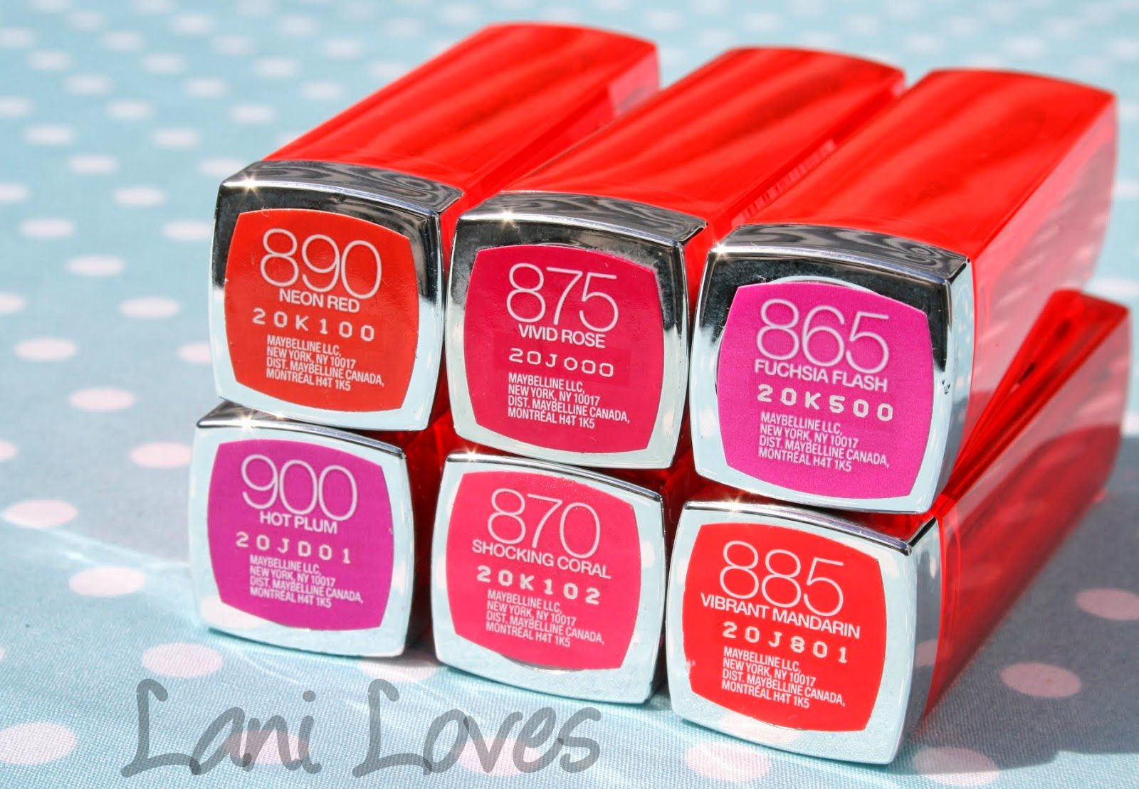 Maybelline Colorsensational Vivids - Neon Red, Vivid Rose, Fuchsia Flash, Hot Plum, Shocking Coral & Vibrant Mandarin