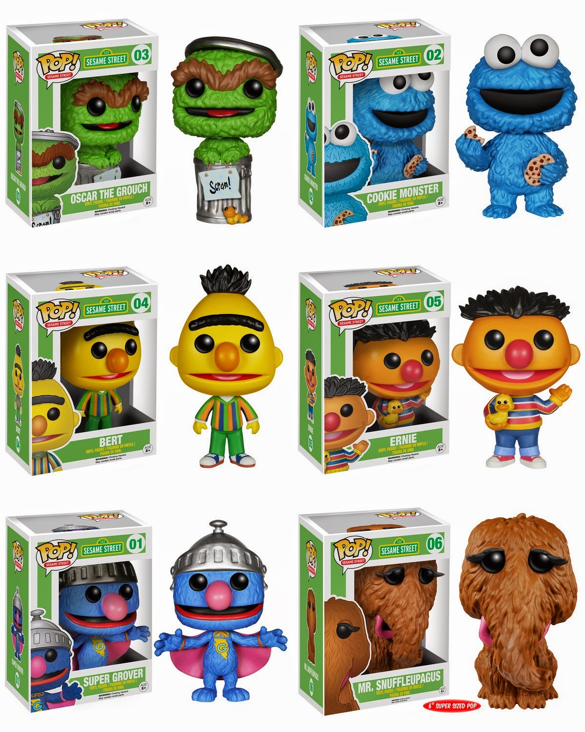 Sesame Street Pop! Series 1 Vinyl Figures by Funko - Oscar the Grouch, Cookie Monster, Bert, Ernie, Super Grover & Mr. Snuffleupagus
