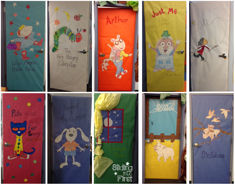 She Let Everyone Choose Their Favorite Book And She Made Door Decorations  For Open House! They Look Amazing! My Door Is Pete The Cat Of Course!