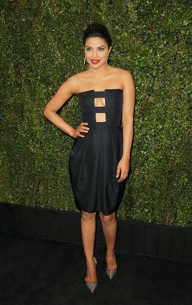Priyanka Chopra in Strapless Black Mini-dress at Pre-Oscar Party