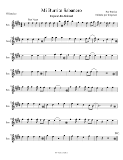 Partitura de Mi burrito Sabanero para Saxofón Alto, Barítono y Trompa en Mi bemol Villancico popular Score Alto Saxophone, Baritone, and Horn Sheet Music carol songs Mi burrito Sabanero