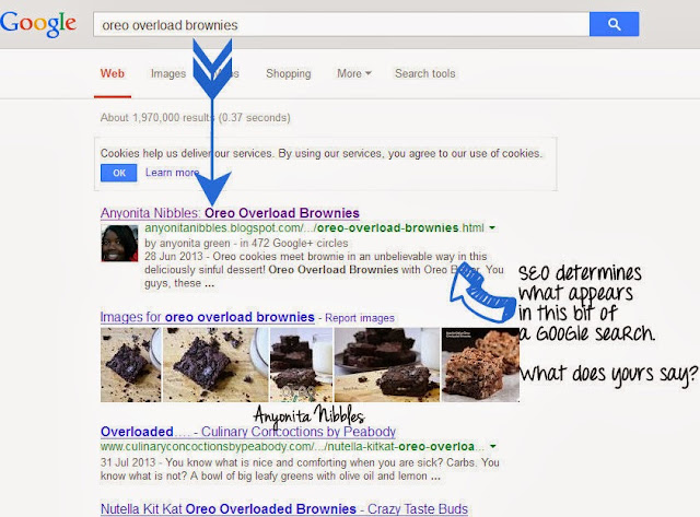 Good SEO determines what Google displayes beneath your link in search enginges from www.anyonita-nibbles.com