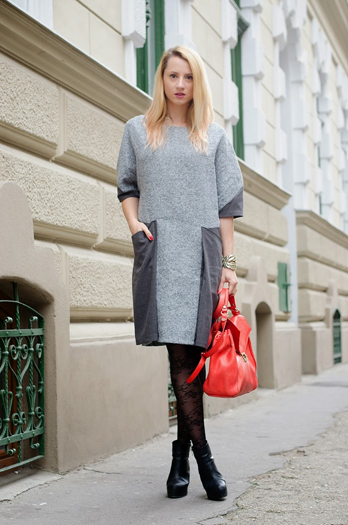 Skinny Buddha gray dress Zara red bag