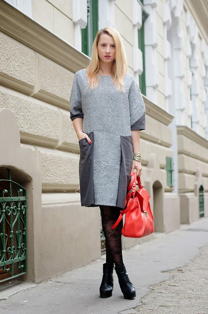 Skinny Buddha gray dress Zara red bag