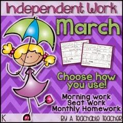 http://www.teacherspayteachers.com/Product/Kindergarten-Independent-Work-March-Morning-Work-Seat-Work-or-Homework-1136432