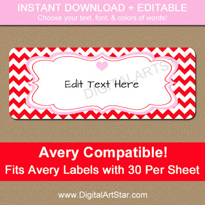 editable red chevron valentines day address labels download