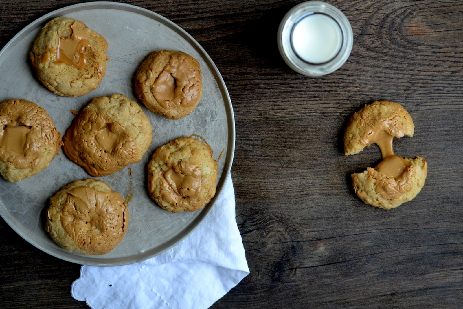 ... : Brown Butter Oatmeal Cookies Filled With Caramel and Peanut Butter