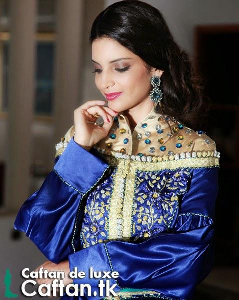 Caftan marocain bleu perlé 2014