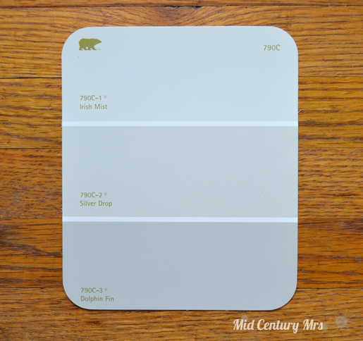 Mid century mrs basement picking paint colors for Silver mist paint color