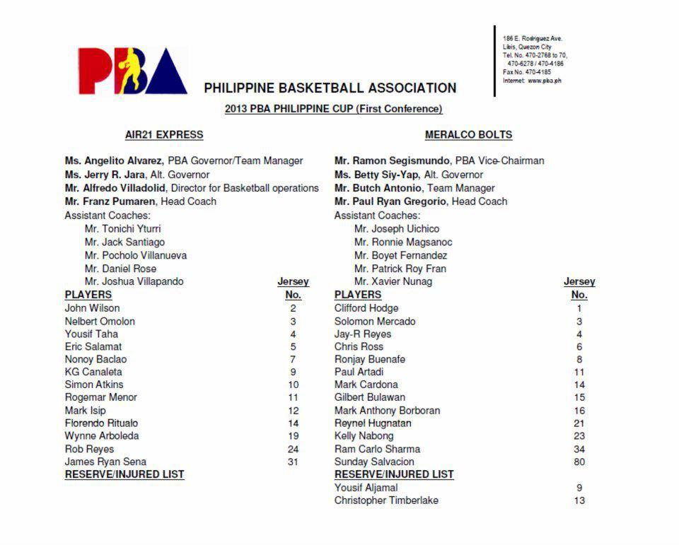 And Official 2013 PBA PHILIPPINE CUP First Conference Line Up