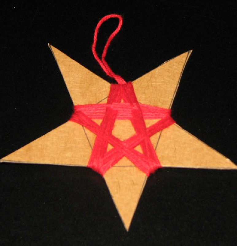 Star Ornaments with thread and wrapped around