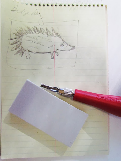 handmade hedgehog stamp by Marty Mason