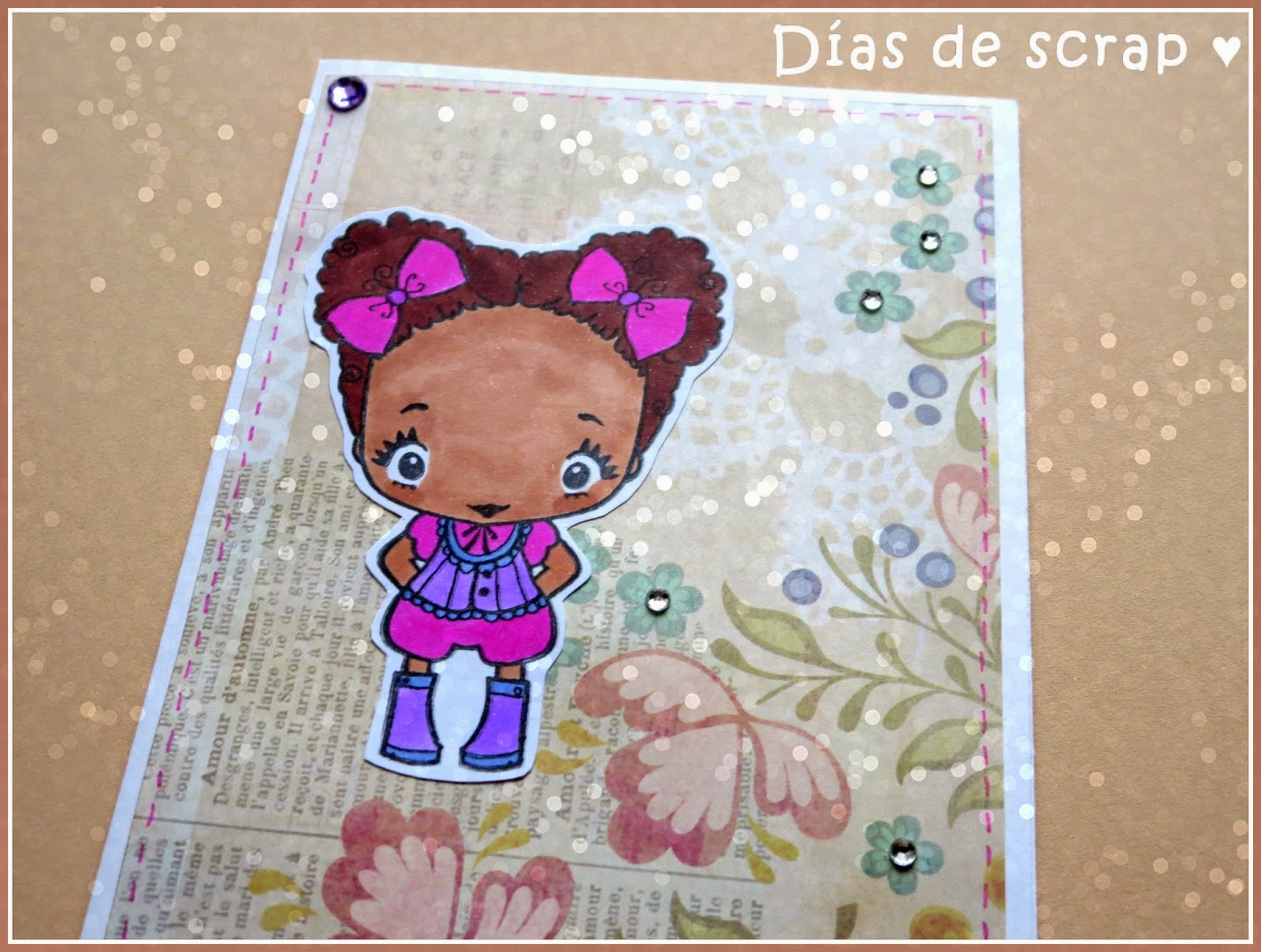 "scrap Postal reto FFF ""In stitches"" TGF"