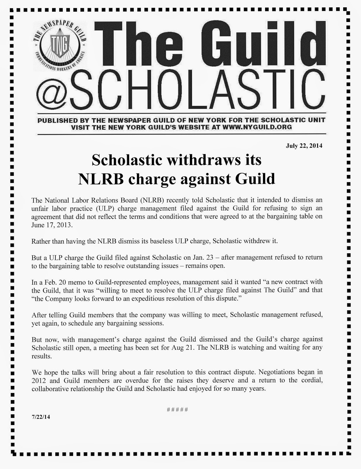 Scholastic Withdraws ULP against Guild