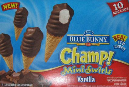 Blue Bunny Champ Mini Swirls Vanilla Birthday Party Treat Review