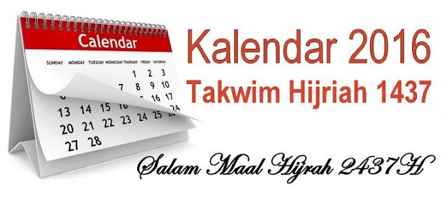 Takwim Kalendar Hijrah 2016-1437H & Tarikh Penting