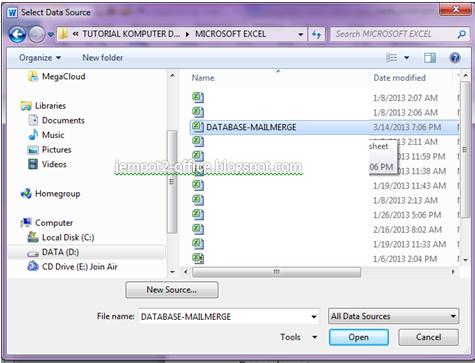 ... Microsoft Excel yang sudah dibuat tadi sebagai sumber (source) yang