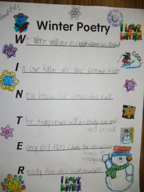 As you can see they all write about what they love about winter or