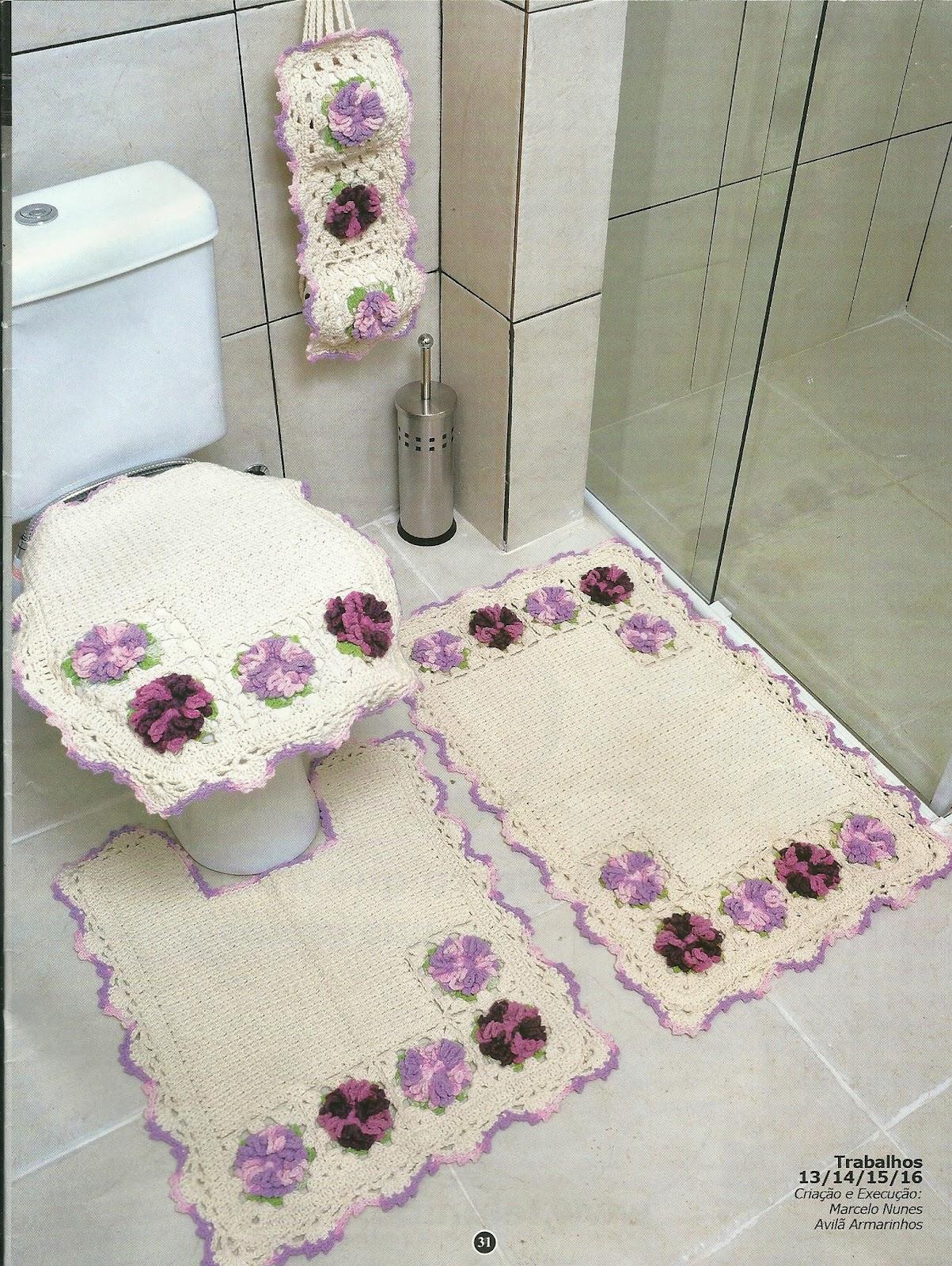 Gente!!! olha que lindo estes jogos para banheiro que achei na revista  #814A61 1203x1600 Banheiro Branco E Lilas