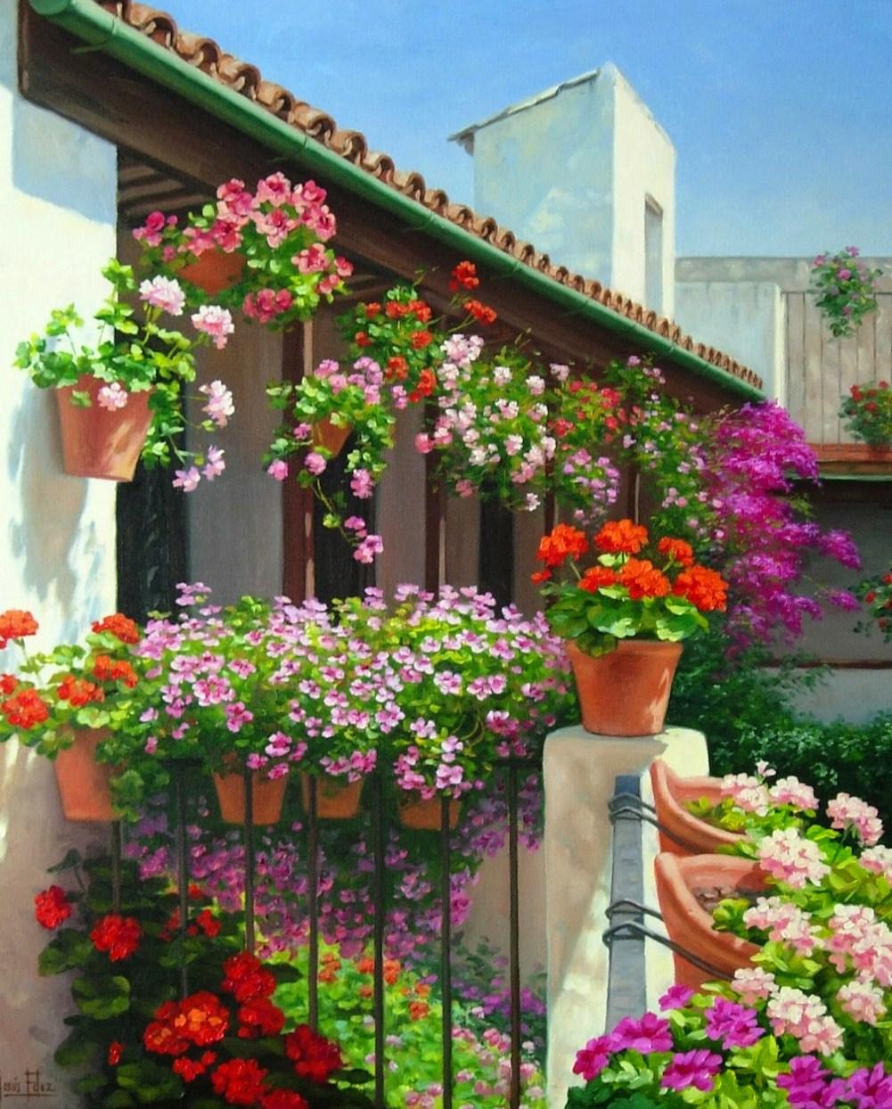 Cuadros modernos flores en paisajes for Decoracion y paisaje s a