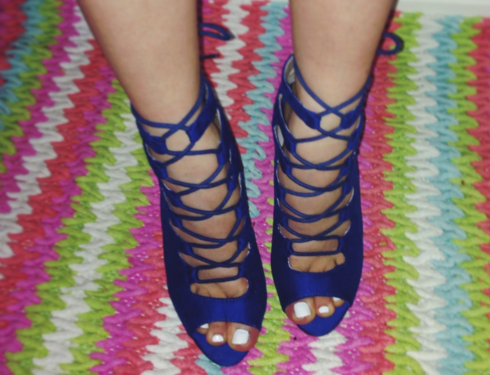 ASOS ELECTRIC BLUE LACE UP HEELS