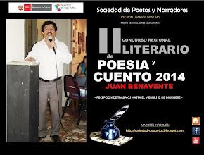 """II CONCURSO REGIONAL LITERARARIO DE POESÍA Y CUENTO 2014 """"JUAN BENAVENTE"""""""