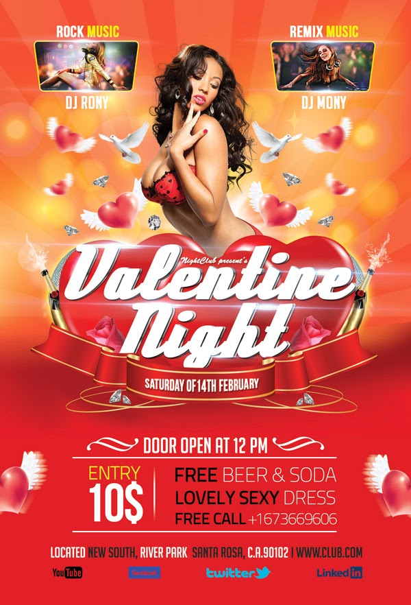 Valentine Night Party Flyer - Photoshop